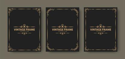 coleção de molduras ornamentais de luxo vetor