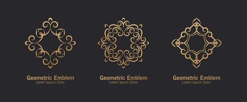 conjunto de estilo de arte de linha de logotipo de ornamento vetor