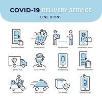 ícones de serviço de entrega sem contato segura