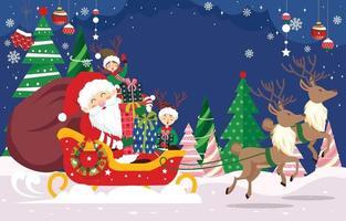 Papai Noel com seus ajudantes trazem presentes de natal vetor