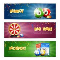 conjunto de banner de modelo de loteria vetor