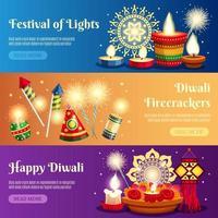 conjunto de modelos de banner de celebração de Diwali vetor