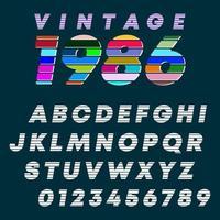 letras do alfabeto e números com design vintage vetor