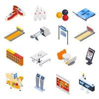 conjunto de ícones de boliche isométrico