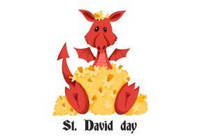 Dia do Dragão Vermelho bonito Saint David vetor