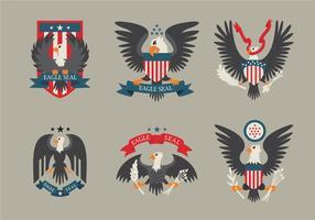 Colorido Águia Seal Vector Logo Remendo