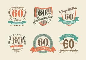 Etiqueta Aniversário Retro Vintage Vector Pack