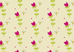 Background Daun com flores e abelhas vetor