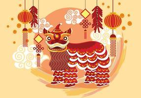 Fundo chinês tradicional Dança do Leão Festival vetor