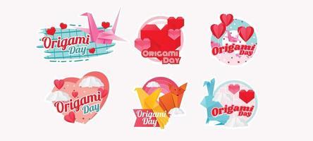 festival do dia do origami com adesivos alegres vetor