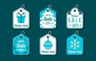 coleção de etiquetas de venda de inverno azul vetor