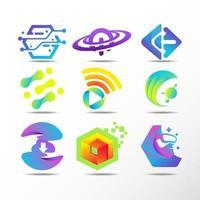 conjunto de logotipo de tecnologia de alta qualidade vetor