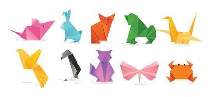 personagens animais de origami fofos vetor