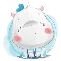 menino hipopótamo fofo com chapéu azul vetor
