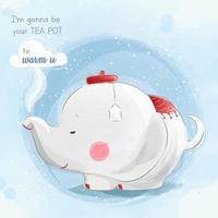 elefante bule de chá vetor