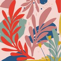 fundo de folhas e flores coloridas vetor