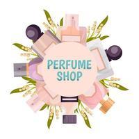 composição de grinalda de perfume vetor