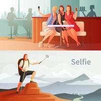 pessoas tirando selfies banner set