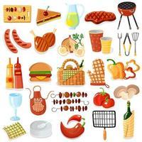 conjunto de ícones de churrasco