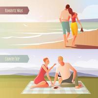 Casais em encontros românticos banner conjunto vetor