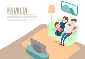 Família em casa Vector Background