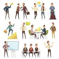 conjunto de ícones de desenhos animados de negócios vetor