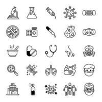 Conjunto de ícones de vírus e linha fina médica
