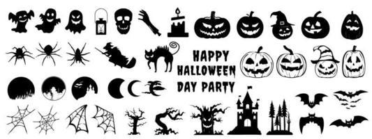 conjunto de silhueta de halloween vetor