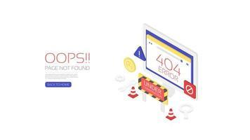 Design do modelo do site da página de erro 404 vetor