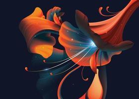 flor artística abstrata em fundo escuro vetor