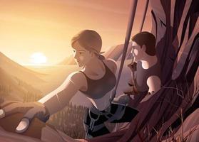 jovem casal escalando penhasco junto com belas paisagens vetor