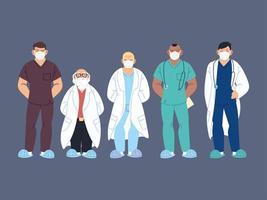profissionais de saúde, médicos e enfermeiras vetor
