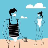 casal de pessoas na praia usando máscara facial