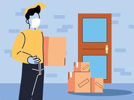 correio com máscara entrega mercadorias na porta vetor