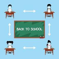 crianças da escola mantendo distância