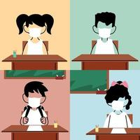 crianças com máscara facial na sala de aula