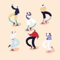 conjunto de pessoas dançando e usando máscaras vetor
