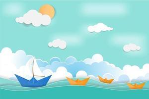 conceito de férias de verão com barquinhos de papel vetor