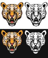 conjunto de arte linha leopardo vetor