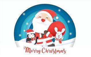 Papai Noel e amigos em papel arte em uma cena circular de inverno