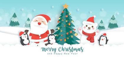 banner de natal e feliz ano novo vetor