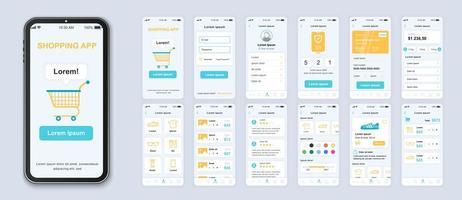 design de interface do aplicativo de interface do usuário de compras azul, amarelo e branco