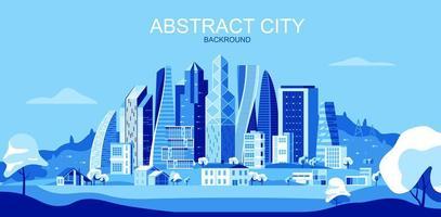 paisagem de cidade em tons de azul com arranha-céus e árvores