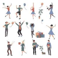 pessoas alegres na festa, personagens de desenhos animados vetor