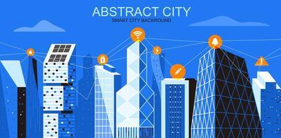 paisagem urbana em tons de azul com rede de informações sem fio vetor