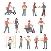 Conjunto de personagens de entregadores de pizza e clientes