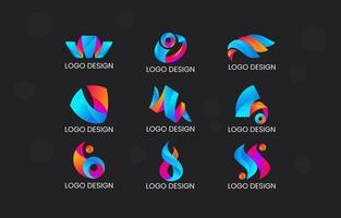 gradiente dinâmico do pacote de logotipo abstrato vetor