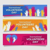 coleção de banner do dia do voluntário vetor
