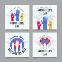 coleção de cartões do dia de voluntário vetor