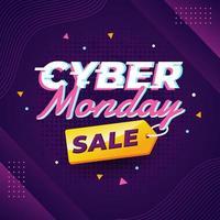 pôster de venda de tecnologia cibernética roxa vetor